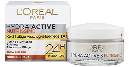L\'Oréal Paris Feuchtigkeitspflege für das Gesicht, Gesichtscreme für sensitive und trockene Haut, Hydratisierende Tagescreme mit Karité Butter, Hydra Active 3 Nutrissime, 1 x 50 ml