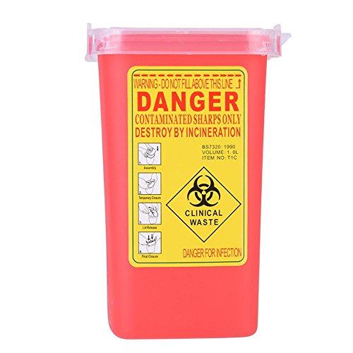 Sharps Bin – Delaman Biohazard Nadelbehälter, Einweg-Tattoo, medizinische Kunststoff-Box, 1 Liter (Farbe: Rot)