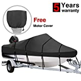 RVMasking Heavy Duty 600D Polyester Trailerable Boat Cover Black for 17'-19' / 20'-22'L V-Hull Runabouts Outboards and I/O Bass Boats (17-19 ft Long)
