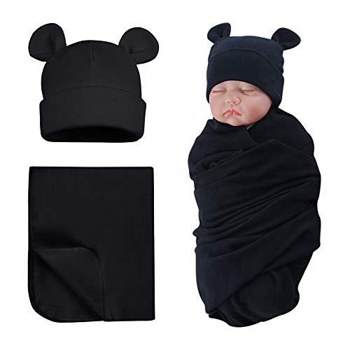 Pesaat Preemie Swaddle Hat Set Bear Ears Boys Girls Beanie Newborn Baby Receiving Blanket Autumn Winter (Black(Hat+Swaddle), Preemie)