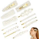Pinces à cheveux perle,Ealicere 12 Pcs Cheveux Barrette Artificielle Pince...