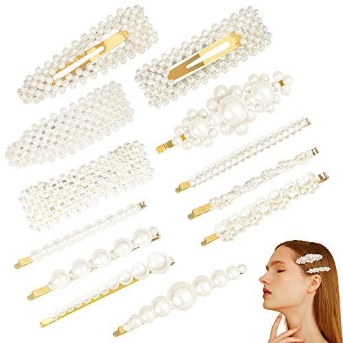 Pinces à cheveux perle,Ealicere 12 Pcs Cheveux Barrette Artificielle Pince à Cheveux Accessoires pour Filles Femmes pour Fête, anniversaire Saint Valentin Cadeaux