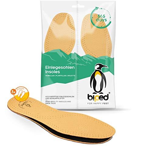 biped set di 3 paia di solette in pelle con carbone attivo - solette in pelle contro la sudorazione dei piedi - solette in morbida pelle per scarpe da uomo e da donna z1724(42-43)