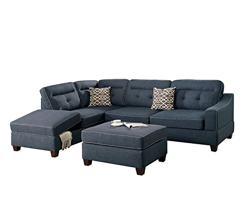 Poundex Bobkona Kathie Sectional Set, Dark Blue