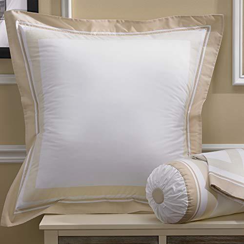 Marriott Block Print Euro Sham - White and Taupe Pillow Sham for Euro Pillow (30