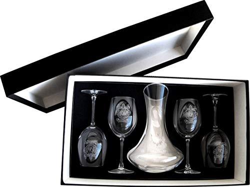 Arte-Deco DECANTADOR Y 4 Copas DE Vino, Grabados Y Personalizados con EL...