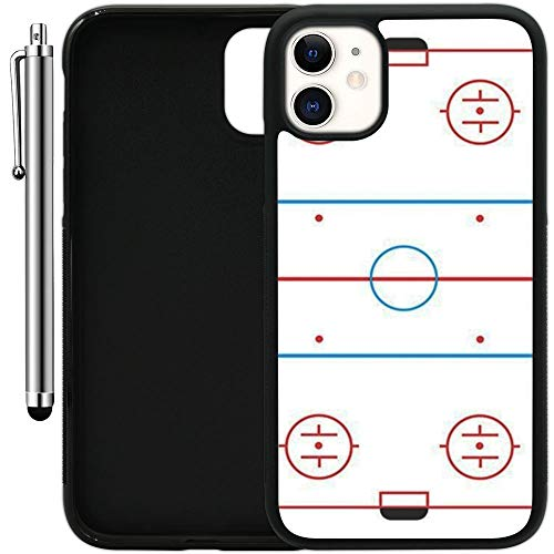 Custom Case Compatible with iPhone 11 (6.1') (Ice Hockey Rink) Edge-to-Edge Rubber Black Cover Ultra Slim   Lightweight   Includes Stylus Pen by Innosub