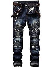 Trainingsbroek Heren, Vrijetijdsbroek Nostalgisch gat Denim Multi-rits Jeans Geplooide lange broek, met zak