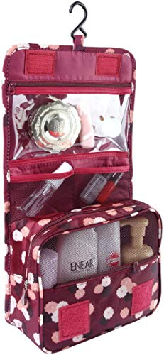 KIU Women,Discoball Folding Cosmetic Makeup Bag with Hook Hanging Organizer Bag with Multi Pouch(Light Blue),Wine Red Flower