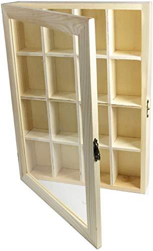 DFH Bacheca in Legno 16 posti con Porta in Vetro espositore vetrinetta minuterie da Collezione decoupage 28x20x4,1 cm 53453 E7