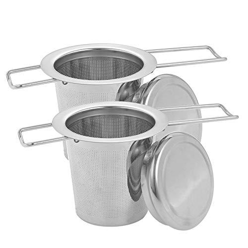 Xinzistar, 2 colini da tè in acciaio inox, rete fine per tè sfuso, filtro da tè, sfera con manico lungo, coperchio pieghevole per tazze da tè, teiera, tazze