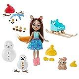 Enchantimals- Giochi e Pupazzi di Neve con Bambola di Sharlotte Lo Scoiattolo, Cucciolo Walnut e Accessori Giocattolo per Bambini 3+Anni, GNP16