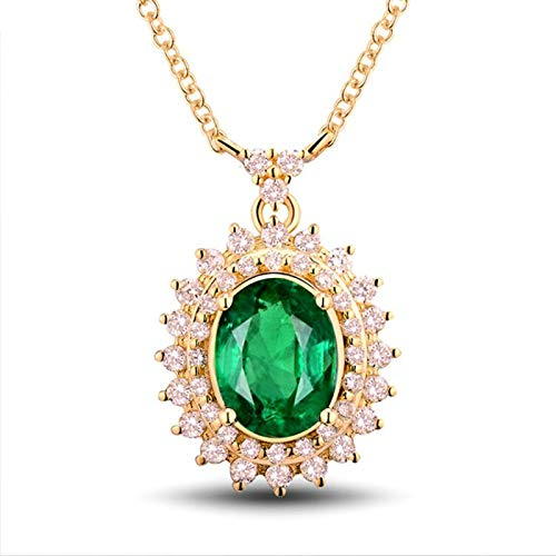 Bishilin Colgante Collar Oro 750, Oval Collares Pendientes 1.44ct Esmeralda Elegante Ajuste Cómodo Collares Hipoalergénicos para Adolescentes, Niñas Y Mujeres para Cumpleaños Navidad Oro