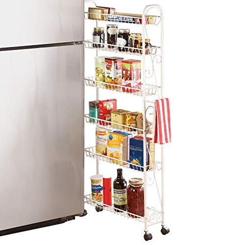 Slim Rolling Pantry 6-Tier Shelf  White Metal with Elegant Scroll Design Accent - Extra Kitchen and Bathroom Storage  6