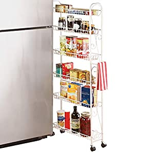 Slim Rolling Pantry 6-Tier Shelf, White Metal with Elegant Scroll Design Accent – Extra Kitchen and Bathroom Storage, 6″