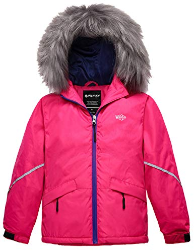 Wantdo Girl's Waterproof Winter Jacket Warm Rain Coat with Hood Rose Red 10/12
