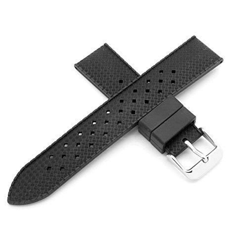Swiss Time - Correa de reloj perforada de goma negra de 20 mm