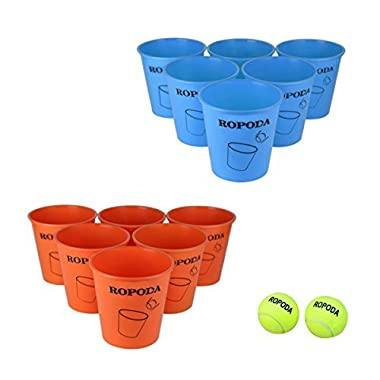 ROPODA Giant Pong Game Set Outdoor for The Beach, Camping, Tailgating, Lawn and Backyard(12 Buckets, 2 Game Balls)