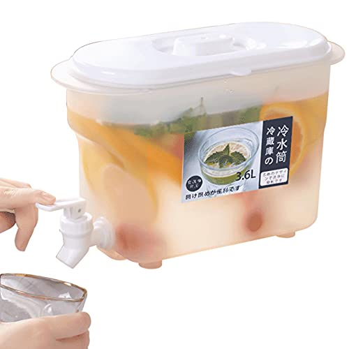 MEYING Dspensador De Agua Fría para Nevera,Garrafa con Capacidad 3,6 litros. Botella De Plástico PP Reutilizable con Grifo, Jugo De Té Bebidas Lácteas, Sin BPA, -20 ° C-120 ° C, Transparente