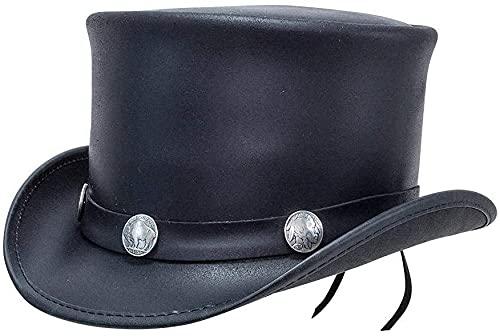 Sombrero de Copa El Dorado, Banda de búfalo, Sombrero de Copa de Cuero Americano, Sombrero de Vaquero Negro con Estilo de níquel para Hombre