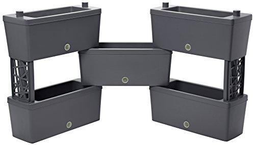 Bama 32020 Brick Kit 5 Fioriere Modulari, Grigio, 59X23X27 Cm