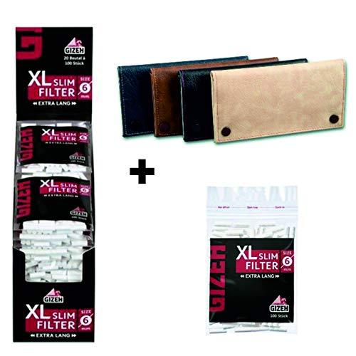 kogu Set mit Gizeh XL Slim Filter, 6 mm, 2000 Stück, mit Klebefläche - Eindrehfilter mit Klebestreifen inkl. Tabaktasche