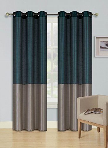 """GorgeousHome (HEIDI) 2Pc Silky Silver Grommet Top Window Curtains Panels Drape Treatment 2 Tone New in Many Colors and Sizes (84"""" STANDARD, HUNTER TAUPE)"""