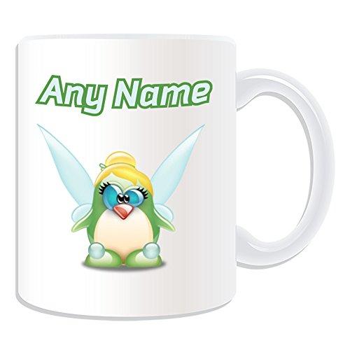 Taza de regalo personalizable con diseño de pingüino, diseño de pingüino, color blanco, con mensaje de nombre, único, tonto, divertido, cuento folk elfo, mariposa, árbol verde