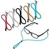 5PCS Premium Leather Eyeglass Straps, LJZspangle Anti-slip Eyeglass Chains Lanyard, Adjustable Eyewear Retainers, Sport Sunglass Retainer Holder Strap for Men and Women, with Free 2 Gifts