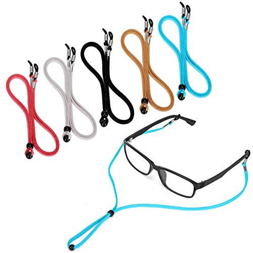 5PCS Premium Leather Eyeglass Straps, LJZspangle Anti-slip Eyeglass Chains Lanyard, Adjustable...