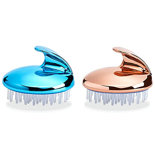 Hair Brush For Thick Hair Scalp Exfoliator, Hair Clean And Head Relax Reduce Dandruff,Promote Hair Growth Wet Or Dry Detangling Hairbrush for All Hair Types Hair(Size:2pcs,Color:Silver Blue+rose gold)