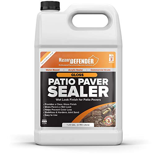 Gloss, Wet Look Patio Paver Sealer, 1 gal - Clear Water-Based Sealant for Natural Stone Surfaces