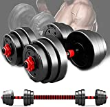 ZRBD-xh 20kg Adjustable Dumbbell Pair, 2 in 1 Adjustable Barbell Set Hex Dumbells with Connecting Rods, Used as Push-up Stand Gym Exercise Home Training,22lbs (Size : 22lbs)