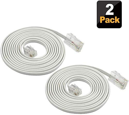 Telefonkabel,SHONCO 2er Pack 1.8 m Telefon Telefonkabel RJ11 6P4C zu RJ45 8P8C Anschlusskabel für Festnetztelefon,Weiß