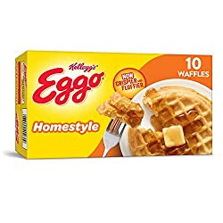 Kellogg's Eggo Homestyle Waffles - Frozen Breakfast Food Made Easy, 12.3 oz Box (10 Count)