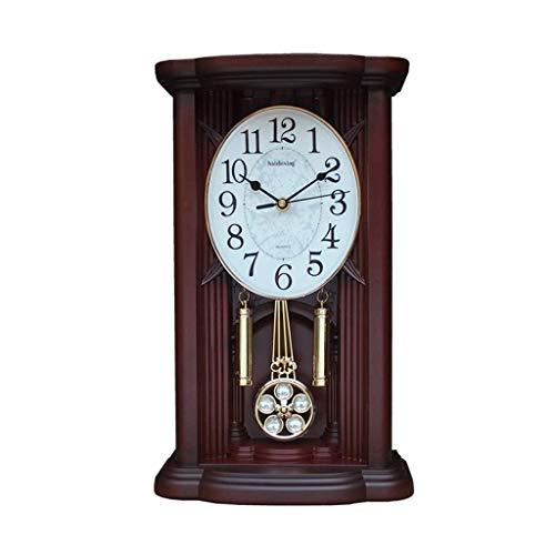 Sooiy Péndulo de Reloj de Escritorio Retro Reloj Reloj de Pared en la Pila de Madera con Reloj de Cuarzo y Carillon de Westminster Ajuste del Volumen Relojes de Chimenea,A