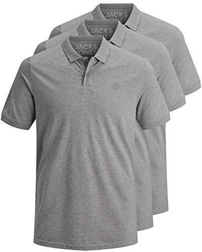 JACK & JONES 3er Pack Herren Poloshirt Slim Fit Kurzarm schwarz weiß blau grau XS S M L XL XXL Einfarbig Gratis Wäschenetz von B46 (3er Pack grau, L)