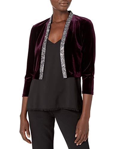 Calvin Klein Women's Velvet Shrug with Embellished Trim, Aubergine, Medium