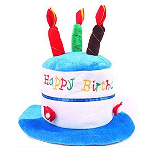 She's Shining Enfants / Adultes fête d'anniversaire gâteau Fantaisie Robe Chapeau drôle avec des Bougies sur Le Dessus Bleu