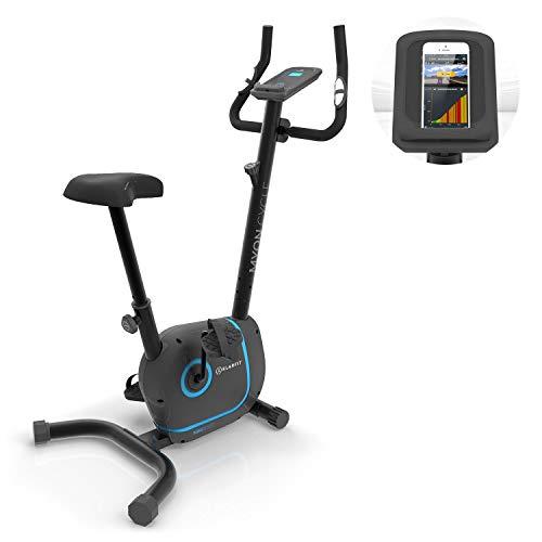 KLAR FIT Myon Cycle - Cyclette, Allenamento a Casa, Volano 12 kg, Trasmissione a Cinghia con SilentBelt, 8 Livelli, Cardiofrequenzimetro, Altezza Sella Regolabile, Supporto Tablet, Nero