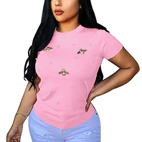 Verano de Las Mujeres con Cuentas Mariposa Cuello Redondo más el tamaño de la Camiseta de Color sólido de Moda de Manga Corta