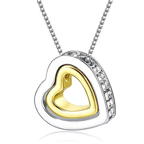 N/A Halskette Anhänger Doppelherz Kristallkette Halskette & Anhänger Für Frauen Hochzeitsschmuck Silber Halskette Statement Lange Halskette Weihnachtsgeburtstagsgeschenk