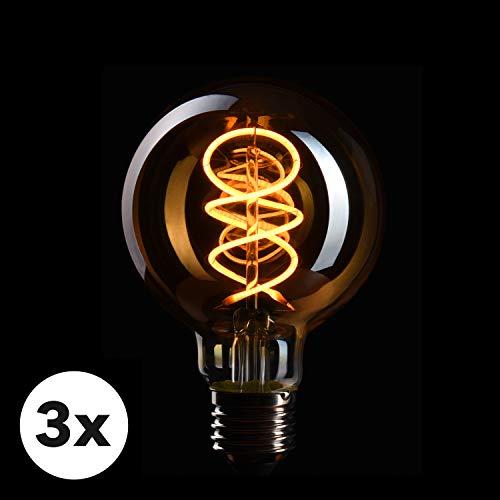 CROWN LED 3x lampadina Edison con attacco E27 | Dimmerabile, 4W, 2200 K, luce bianca calda, 230 V, EL18 | Illuminazione d'epoca a Filamento in Stile Retro Vintage | Classe energetica EU: A+
