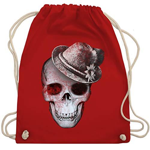 Shirtracer Oktoberfest Beutel - Totenkopf mit Filzhut - Unisize - Rot - turnbeutel damen totenkopf - WM110 - Turnbeutel und Stoffbeutel aus Baumwolle