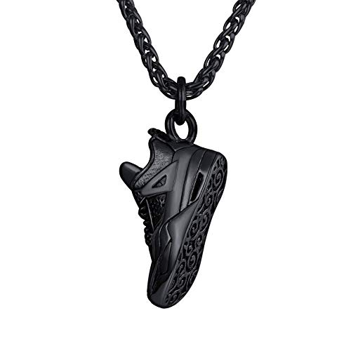 U7 Herren schwarz Edelstahl Kette Sport Schuh Form Anhänger Halskette 60cm Weizenkette verstellbar Hip Hop Modeschmuck für Männer Jungen schwarz