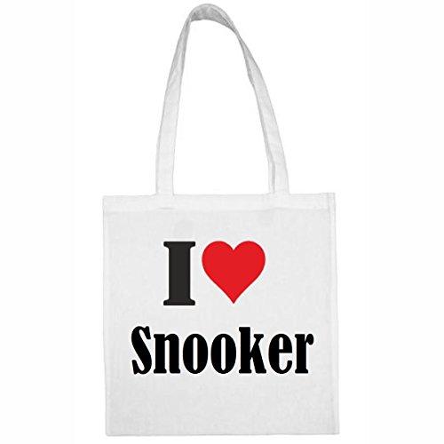 Tasche I Love Snooker Größe 38x42 Farbe Weiss Druck Schwarz