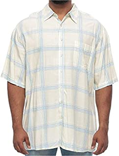 Island Passport Big and Tall Button Front Shirt Plaid Short Sleeve Shirt for Men - White