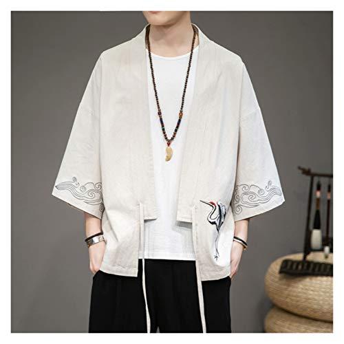 VIAIA Japons Kimono Cardigan Hombres Tops Tnica Suelta Harajuku Camisa Ropa Outwear Estilo Chino Streetwear Retro Cosplay Trajes (Color : Beige, Size : M)