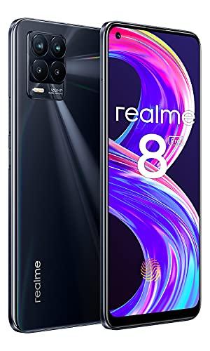 "Realme 8 Pro Smartphone Libre 8+128GB,108 MP Cámara Cuádruple Celular,180Hz 6,4"" Pantalla Completa AMOLED Mobiles,50W Carga Rápida Batería 4500mAh Android Teléfono Móvil,Dual SIM NF(Punk Negro)"