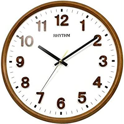 Rhythm (Japan) Brown Wood Round Numerals Dial, Wall Clock Smooth Running of Second Hand, Silent Silky Move Brown Case/Wooden Case Analogue ⌀32x32x5cms